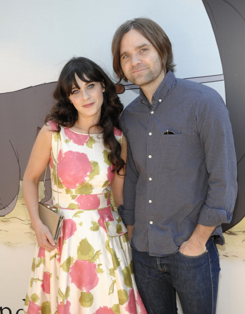 Actress Zooey Deschanel and singer-musician Ben Gibbard appear together in July 2010.