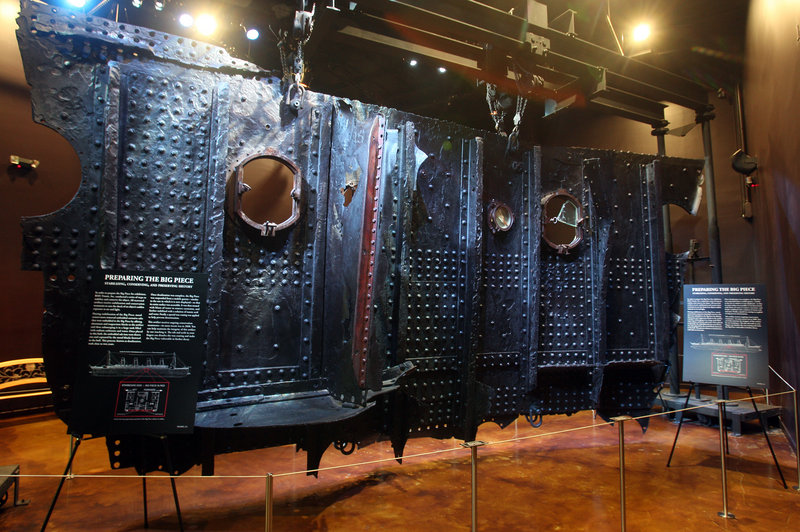 """""""The Big Piece,"""" a 17-ton hull section of the RMS Titanic, was recovered from the ocean floor. Also on the auction block ..."""
