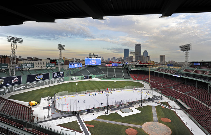 It's not the midsummer view of Fenway Park, but this is the dead of winter and tonight the stadium will be the site of a Hockey East doubleheader, including Maine against New Hampshire at 7:30 p.m.
