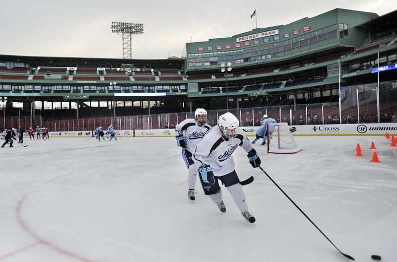 "The University of Maine was given an hour on the outside rink at Fenway Park. ""I thought that it was like a pond,"" said Maine defenseman Will O'Neill."