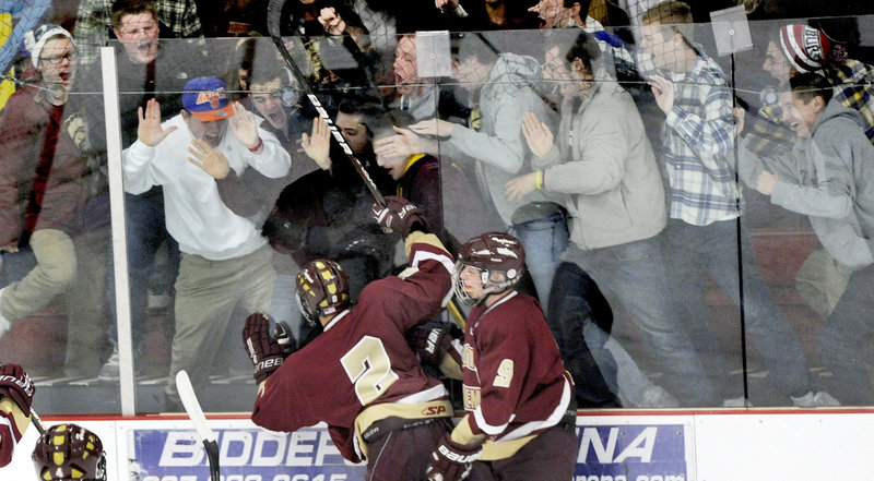 On the ice and off the ice, the celebration was on Friday after Nick Chen scored the opening goal in the first period for Thornton Academy in a 4-0 victory against Biddeford.
