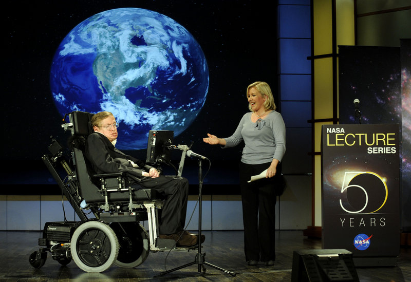 Stephen Hawking is praised by his daughter Lucy Hawking in 2008 as he gives a speech in honor of NASA's 50th anniversary. Scientists are analyzing his DNA to see if a genetic mutation could explain his long survival with ALS.