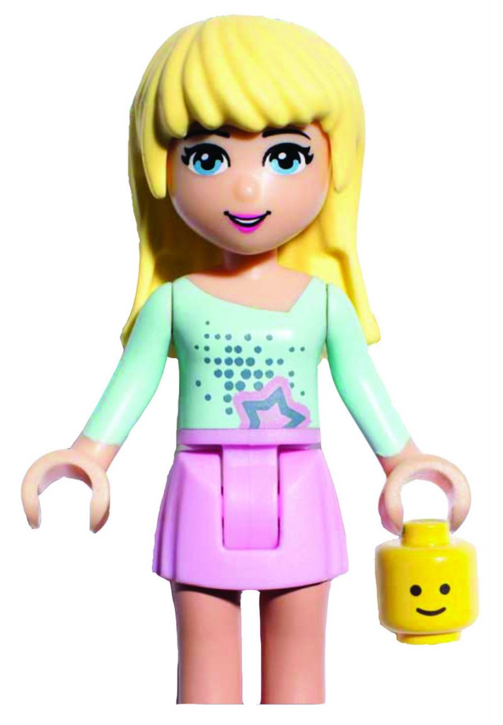 """Stephanie"" and four other main characters in a new line of Lego products for girls like to ""work on their tans"" in a pool."