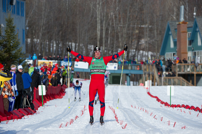 Torin Koos celebrates what he thought was his second sprint title at this week's U.S. Cross Country Skiing Championships – before he found out that he was disqualified for cutting too closely in front of another competitor. Instead, the national title went to second-place finisher Tyler Kornfield.