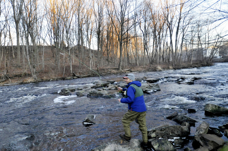 Aaron Landry of Standish was one of approximately 70 fly fishermen who participated in this year's Freeze Up gathering.