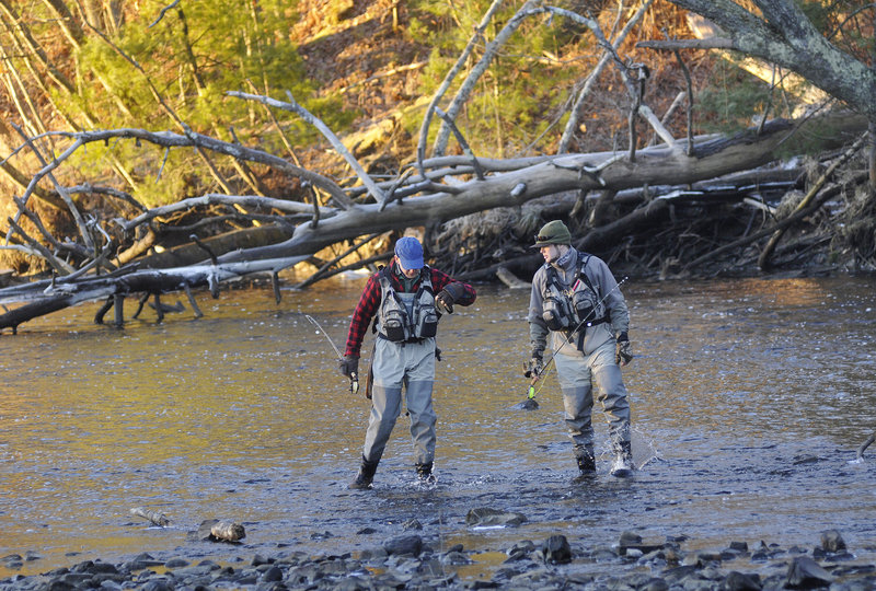 Todd Bickford and his son, Matt, of Topsham walk across the Mousam River while scouting for a fishing spot.