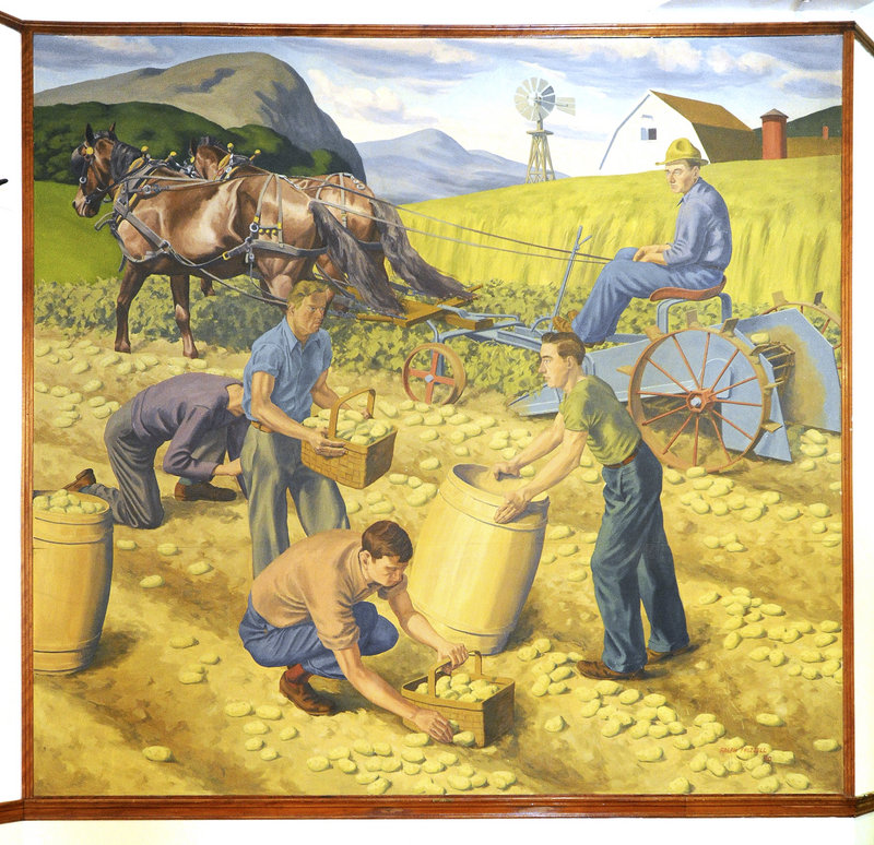 "The late Portland painter Ralph Frizzell created two murals in 1940 for placement in Nathan Clifford School in Portland. This one, titled ""Farming,"" shows a family of potato farmers in northern Maine."