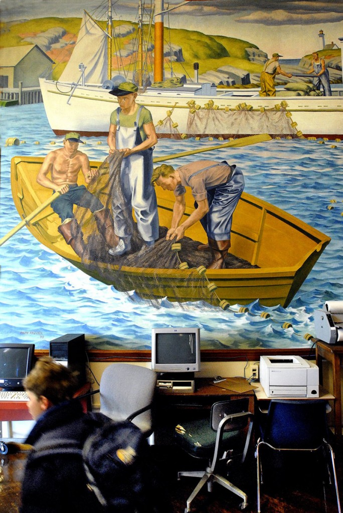 "2008 Press Herald file/Doug Jones Historian Herb Adams said the Ralph Frizzell murals – this one is titled ""Fishing"" – are important because of the era of their creation and the way they portray Maine workers."