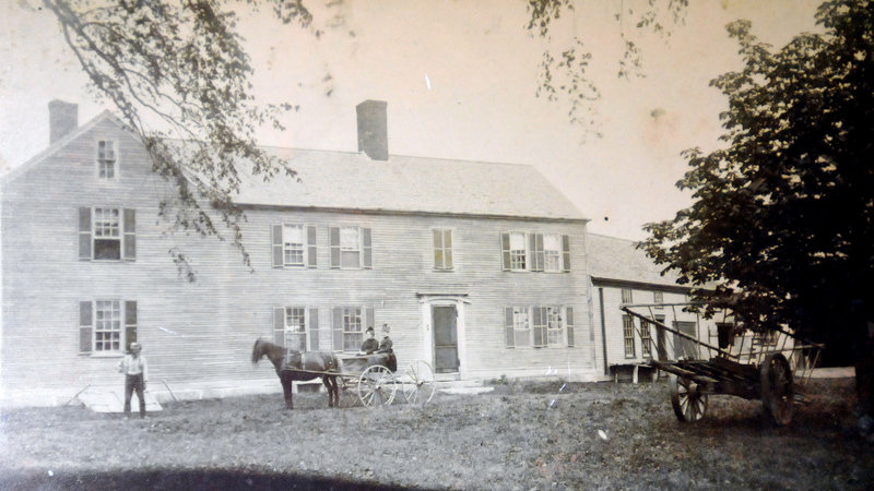 The Lt. Robert Brooks-Deacon Amos Chase house in Saco, above, as it was in the 1890s in a photo contributed by the current owners, Marjorie and Marc Cantara, and the house today, below.