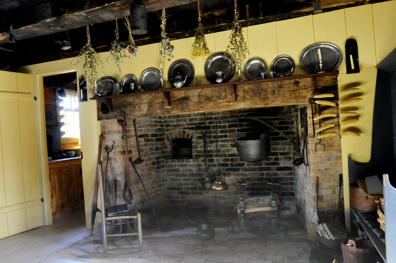 A restored cooking fireplace is a stunning feature in the kitchen of the Lt. Robert Brooks-Deacon Amos Chase house in Saco.