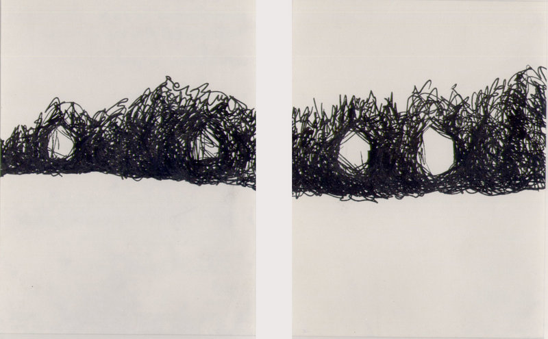 "Graham Wood's ""Peaks Island 2 & 3"", now on display at ""Drawn and Quartered: Hidden Treasures of the Studio."""