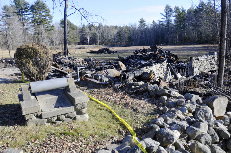 Arson damaged a barn that once stood at this Doles Ridge Road property in Limerick, pictured Wednesday. Carol Field of Standish is a suspect in this blaze and several others.