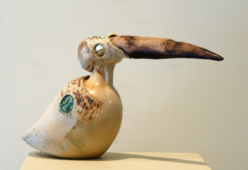 """Red Right Returning,"" Ben Lambert's glazed ceramic with wood."