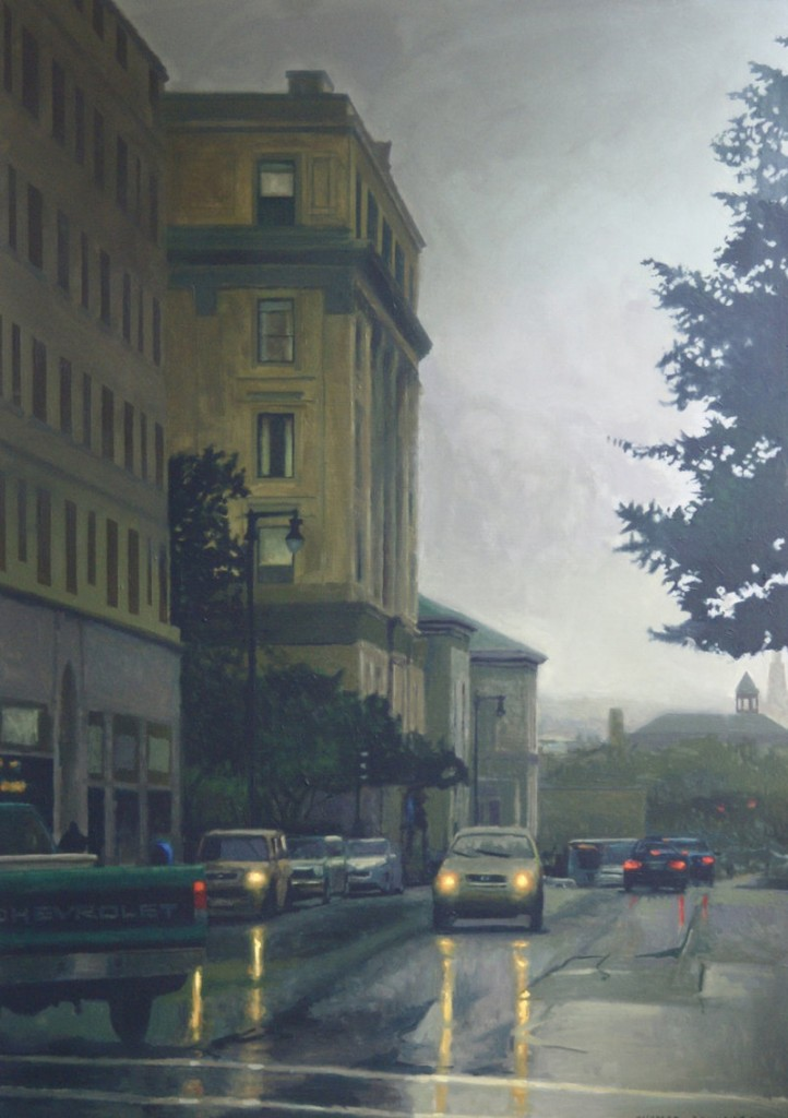 """Portland Morning,"" an oil painting by Thomas Connolly, is among the works on view in ""Art Maine 2012,"" continuing at Greenhut Galleries in Portland."