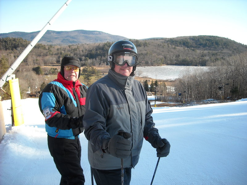 Camden residents Lawrence Nash, 73, and Mort Strom, 80, take advantage of Camden Snow Bowl's free pass for skiers age 70 or older.
