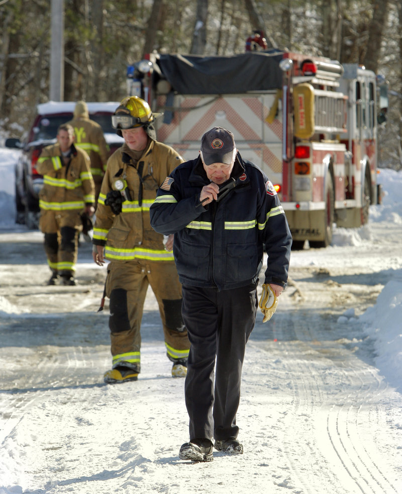 "Byron ""Pat"" Fairbanks, chief of the Yarmouth Fire Department, leaves the scene of a fire on East Main Street in Yarmouth earlier this month. Fairbanks is retiring after 55 years as a firefighter."