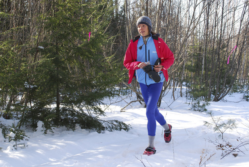 Desiree Sirois of Bar Harbor was one of 14 participants last Sunday in the State of Maine Championship Snowshoe Race in Orland, though she ran in trail shoes rather than snowshoes. The 4.9-mile race was a qualifier for the national championships in Colorado.