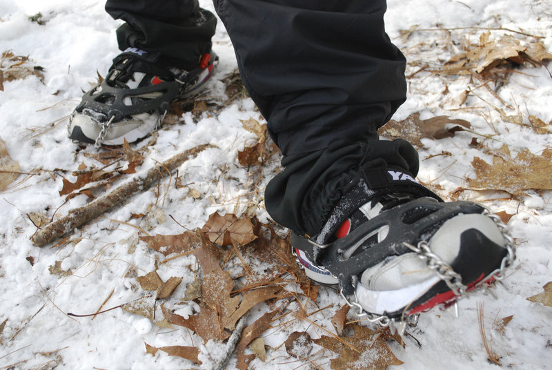 Snowshoe clamps are used in snowshoe races when there's not much snow on the trails, like this winter so far.
