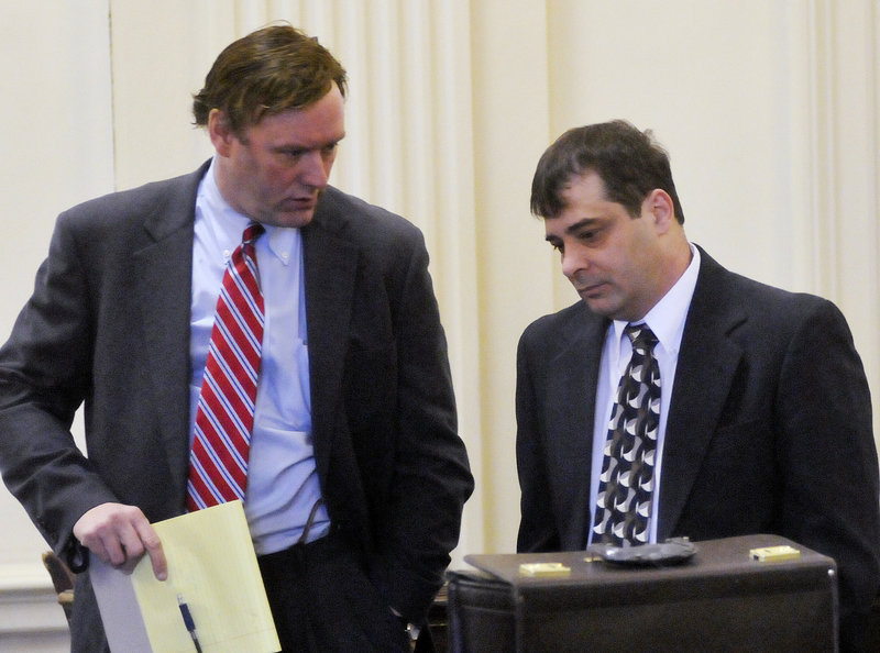 Patrick Dapolito of Limington, right, and defense attorney David Van Dyke talk prior to opening statements in Dapolito's murder trial Tuesday in Alfred.