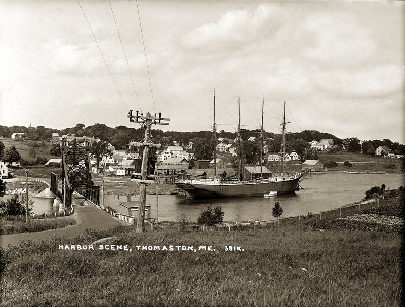 "This view of Thomaston Harbor is from ""Knox County Through Eastern's Eye,"" an exhibition of photographs from the Penobscot Marine Museum's Eastern Illustrating Collection, on view through Tuesday at the Camden Public Library."