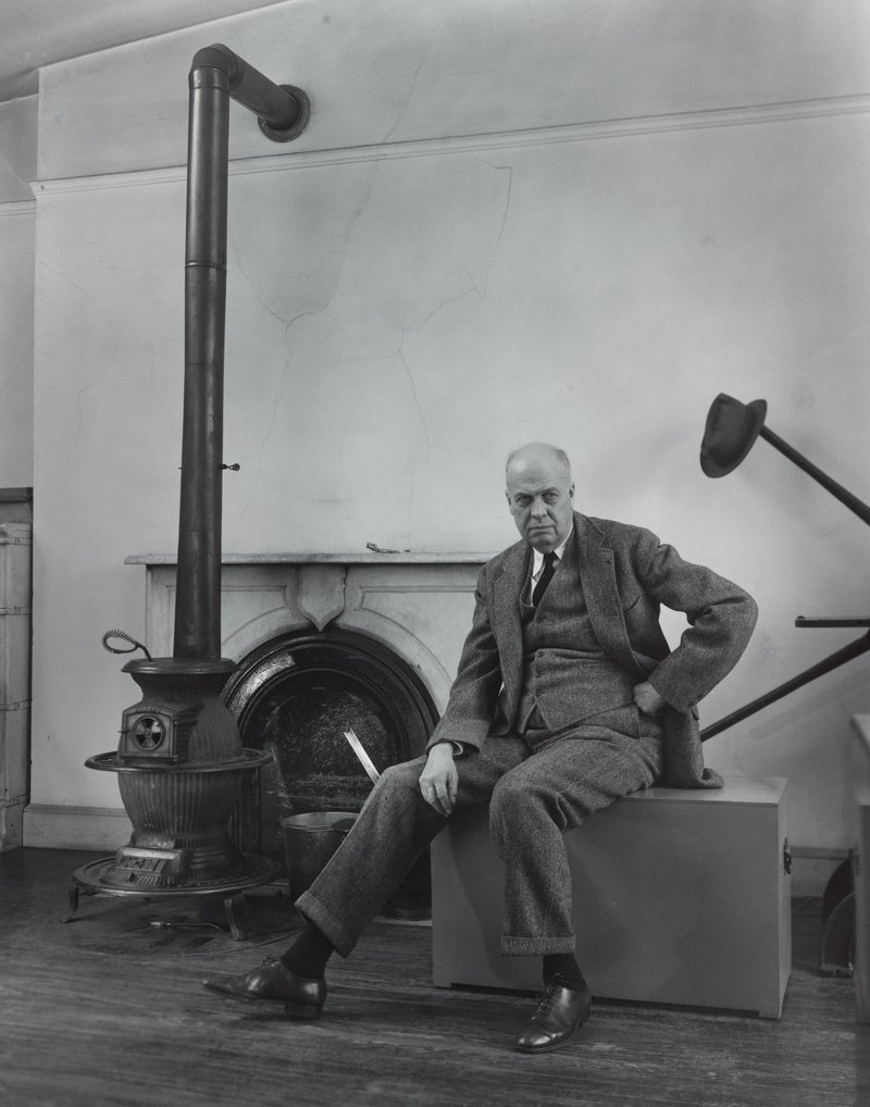 Edward Hopper, as photographed by Berenice Abbott, 1947-1948, printed 1976, gelatin silver print.