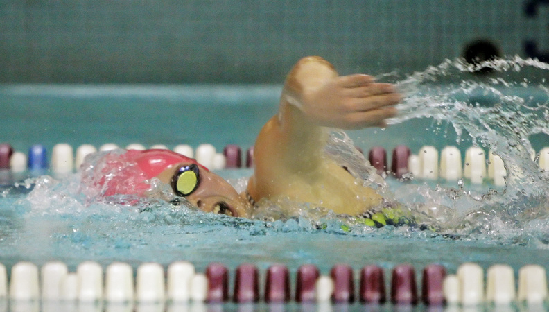 Emily Domingo of Greely wins the 500-yard freestyle with a time of 5:44.6 during a meet with Gorham in Cumberland on Wednesday. The Greely won, 71-23.