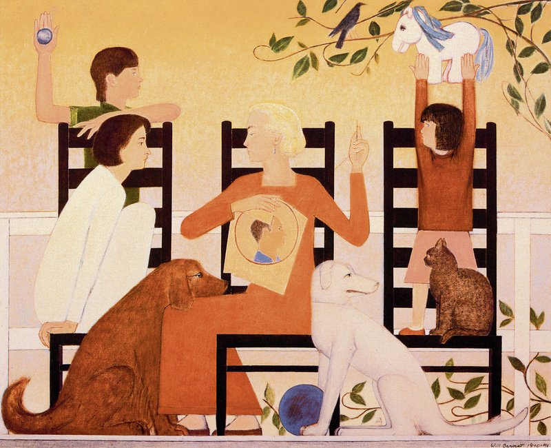 """""""Three Chairs,"""" an oil on canvas painting by Will Barnet, on display at the Farnsworth Art Museum in Rockland. Will Barnet"""