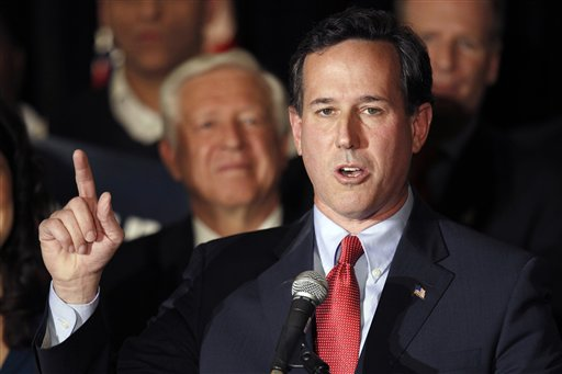 Republican presidential candidate former Pennsylvania Sen. Rick Santorum speaks during a primary night watch party Tuesday, Feb. 7, 2012, in St. Charles, Mo. (AP Photo/Jeff Roberson)