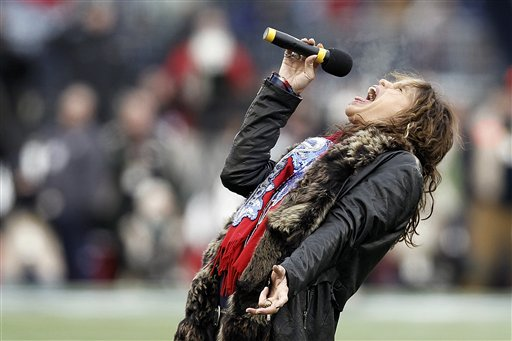 Aerosmith singer Steven Tyler sings the national anthem before the AFC Championship NFL football game between the Baltimore Ravens and the New England Patriots on Jan. 22 in Foxborough, Mass.