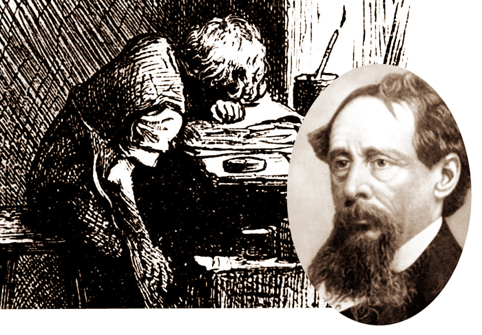 Charles Dickens, right, and a 1904 depiction of the 12-year-old Dickens working in a boot polish factory. The experience would have a major impact on his later life and work.