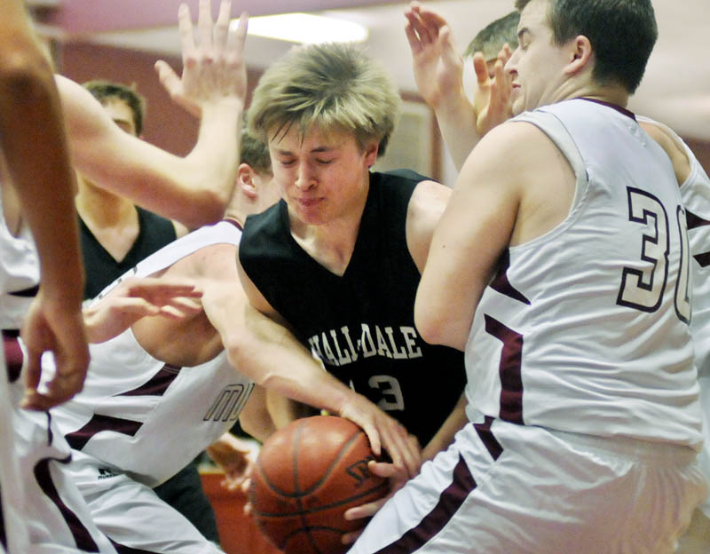 GREAT WHITE WALL: Brad Shepherd and the Hall-Dale boys basketball team will face conference foe Madison in the Western Maine Class C quarterfinals at 7 tonight at the Augusta Civic Center.