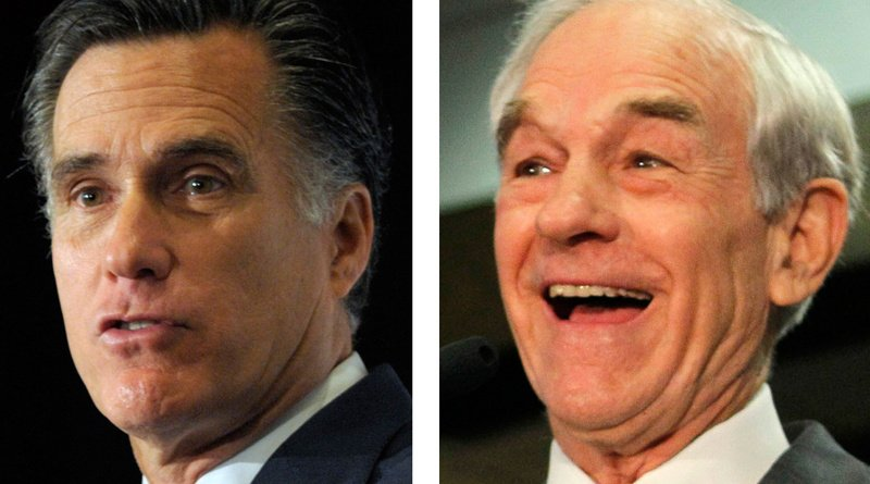 Mitt Romney, left, was declared the winner of the Maine caucuses by a small margin, but supporters of Ron Paul, right, allege bias.