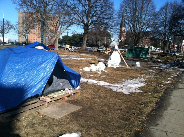 The scene at Portland's Lincoln Park around 10 a.m. today as the deadline passed for Occupy Maine protesters to remove their encampment.