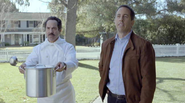 """Jerry Seinfeld and """"Soup Nazi"""" Yev Kassem star in an Acura commercial."""