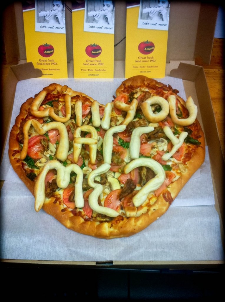 Amato's created a heart-shaped pizza with the key phrase printed in dough for Paul McGonagle to present to his girlfriend Allison Taylor.