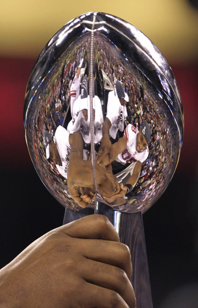 The reflection in the Lombardi Trophy mirrored the game: Nothing but Giants at the end.