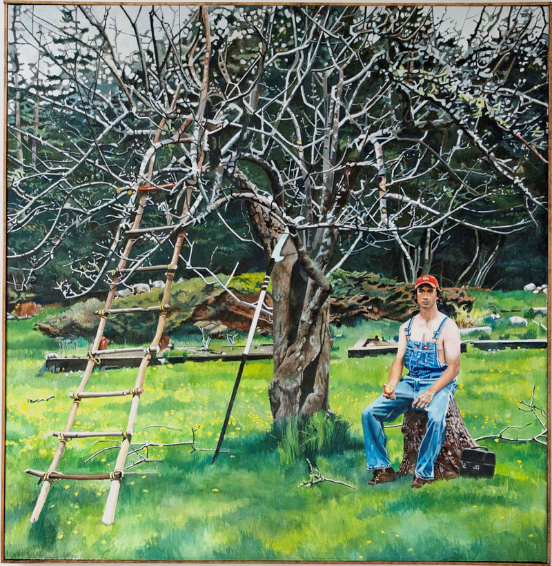 "Wulp just completed his ambitious painting ""Spring Pruning,"" which depicts local farmer Ethan Hall taking a break from trimming one of the artist's ancient apple trees."