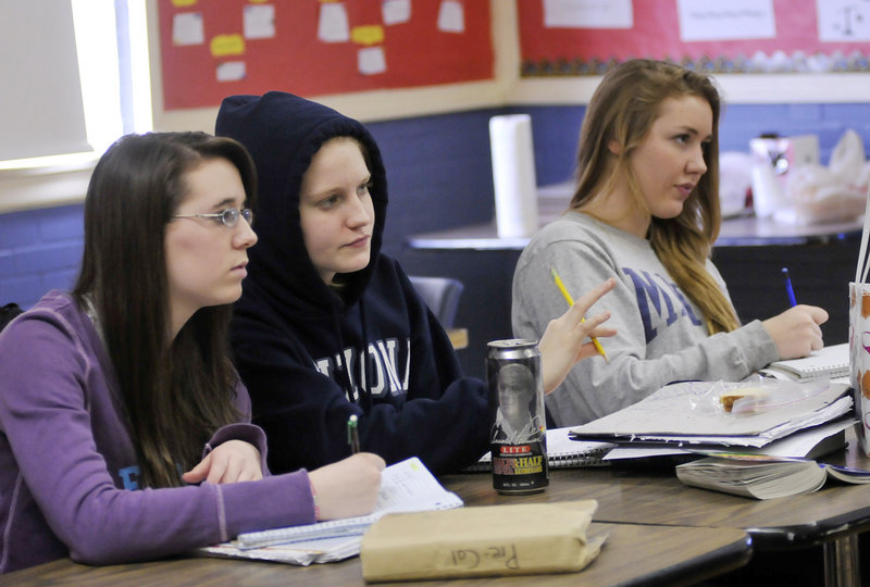 Donatelli's students include, from left, Ashley Whalen, Elaine Beech and Robyn Waugh.