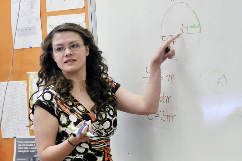 Kate Donatelli teaches pre-calculus at Greater Portland Christian School in South Portland. All teachers at the school are state-certified, says Keith Dawson, the head of school, but it could be difficult for the school to meet state reporting and auditing criteria. He also said the school wouldn't be willing to add sex education and evolution to its curriculum.