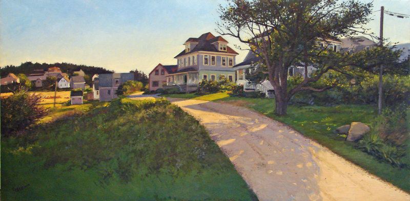 """""""Main Street, Monhegan"""", a painting by Kevin Beers."""