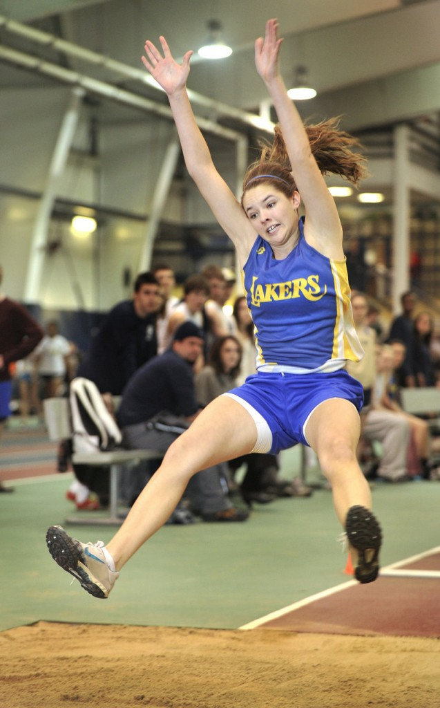 Kate Hall of Lake Region sets a meet record in the long jump – 17-5 1⁄4. Hall also won the junior 55 and junior 200.