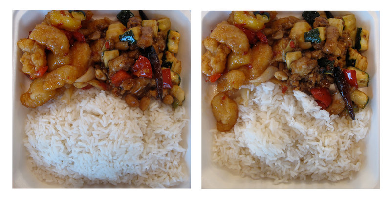 The same meal, but the photo at left shows a full serving of rice and the other a half serving of rice. A creative new experiment suggests paring down the side dishes might help a nation of overeaters shave some calories.