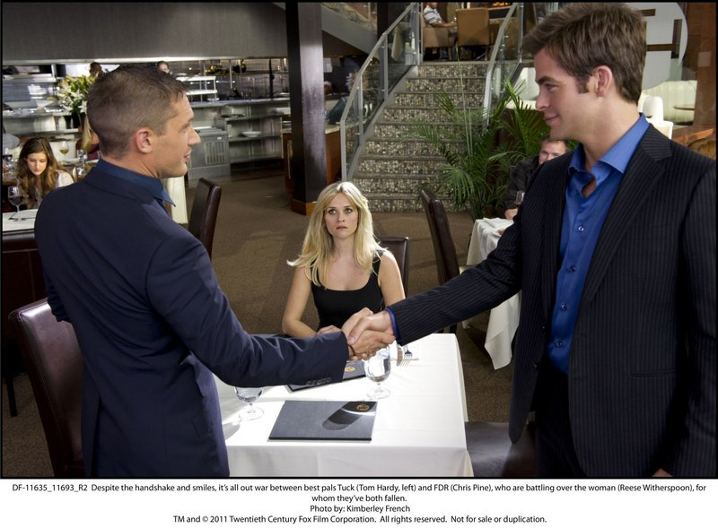 """Tom Hardy, left, and Chris Pine vie for the affections of Reese Witherspoon in """"This Means War."""""""