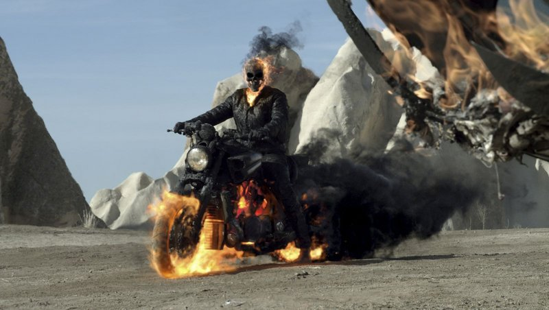 """Nicolas Cage plays a motorcycle stuntman who turns into a flaming skeleton in """"Ghost Rider: Spirit of Vengeance."""""""