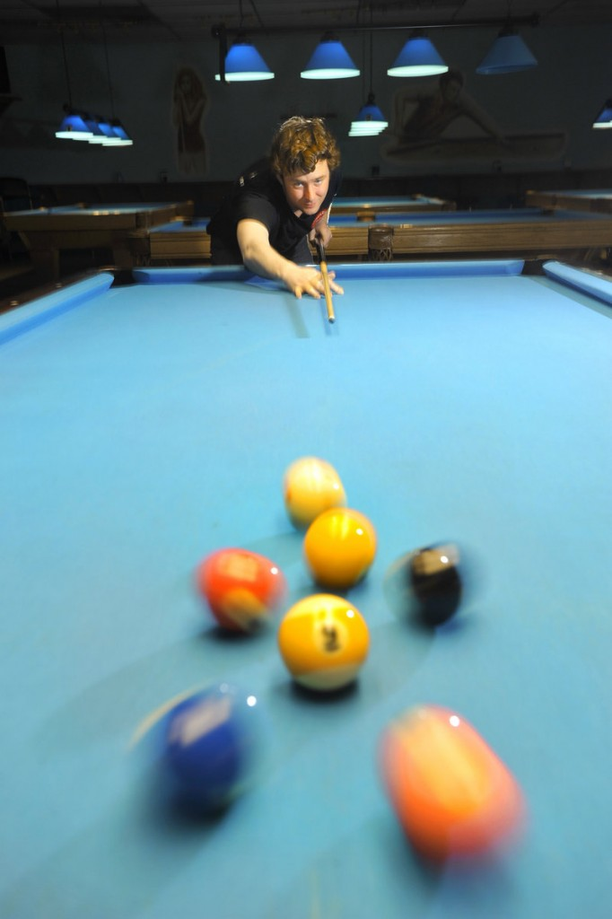 Gareth Steele, an Englishman who started working on his pool game about five years ago, recently won the Maine nine-ball championship. He now gets all the practice time he wants at Sneaky Pete Billiards in Windham, which he owns with his wife.