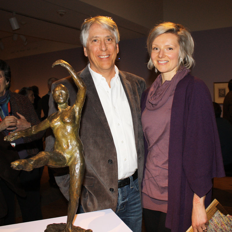 "Les Otten and artist Veronica Cross with the Degas bronze ""Fourth Position in Front on the Left Leg,"" which was lent to the show by Otten."