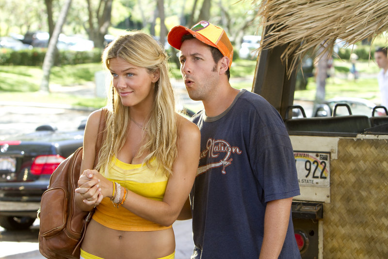 "Brooklyn Decker and Adam Sandler are shown in ""Just Go with It."" Sandler shattered the record for most nominations ever at the Razzies, an Academy Awards spoof singling out the worst movies of the year."