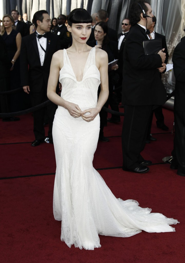 Rooney Mara, a white Givenchy.