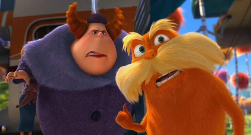 Aunt Grizelda (Elmarie Wendel) is annoyed by the Lorax (Danny DeVito) in