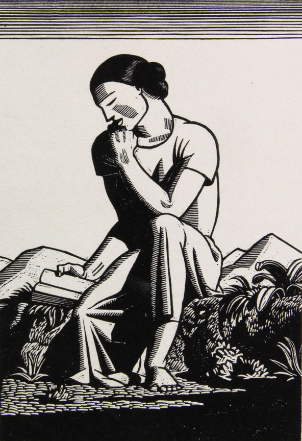 """The Reader"" by Rockwell Kent, from ""The Art of the Book,"" an exploration of the museum's collection of rare books, continuing through April 1 at the Farnsworth Art Museum in Rockland."